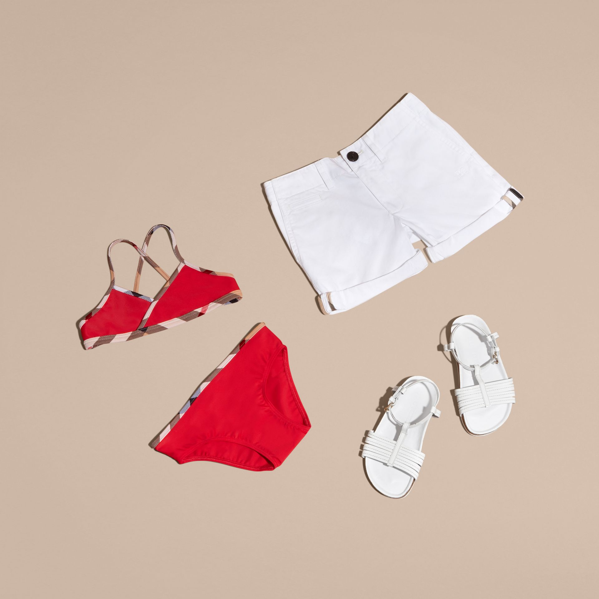 Check Trim Bikini in Poppy Red - Girl | Burberry - gallery image 3