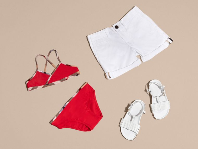 Check Trim Bikini in Poppy Red - Girl | Burberry United Kingdom - cell image 2