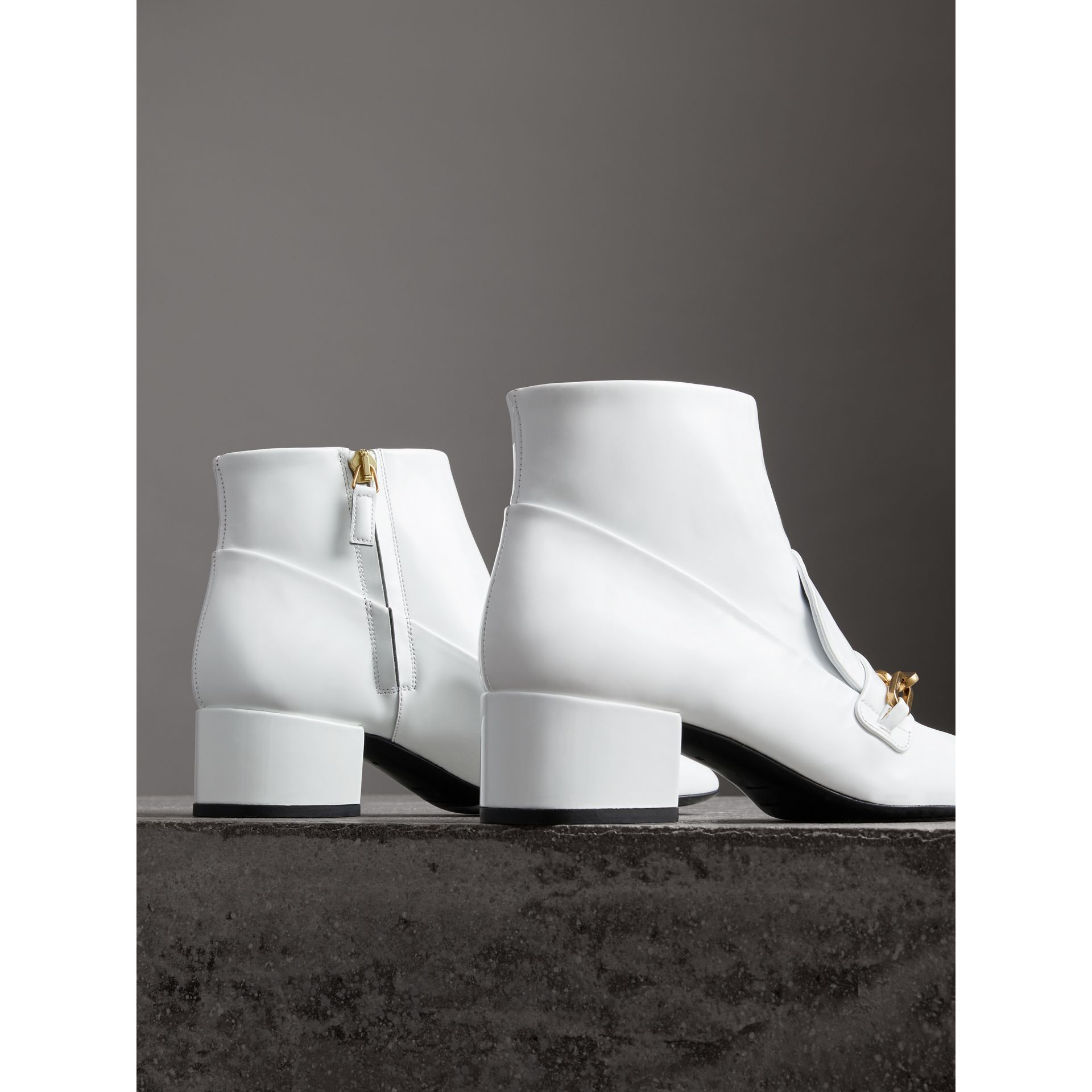 Link Detail Patent Leather Ankle Boots in Optic White - Women | Burberry Australia - gallery image 3