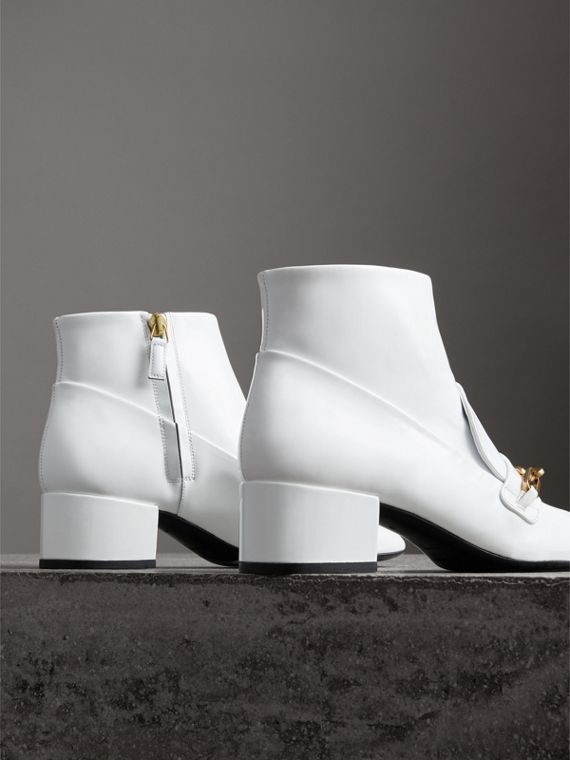 Link Detail Patent Leather Ankle Boots in Optic White - Women | Burberry Australia - cell image 3