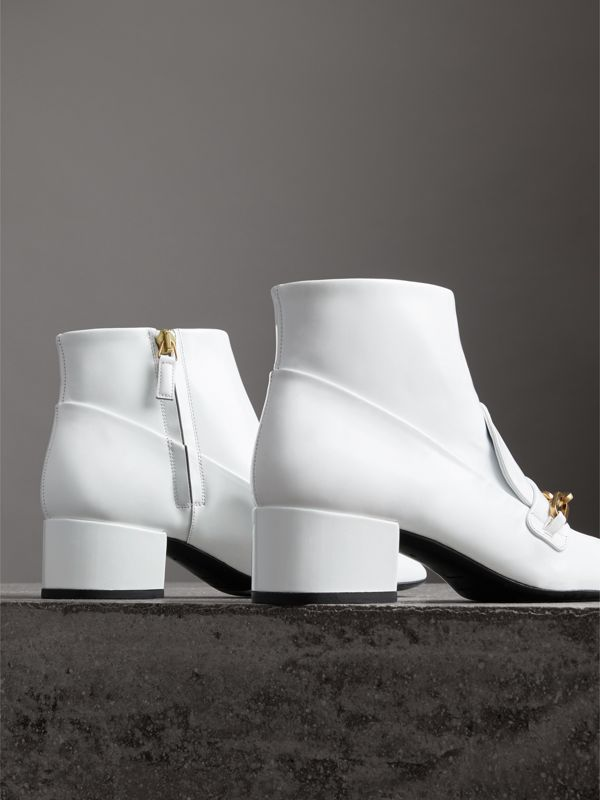 Link Detail Patent Leather Ankle Boots in Optic White - Women | Burberry - cell image 3