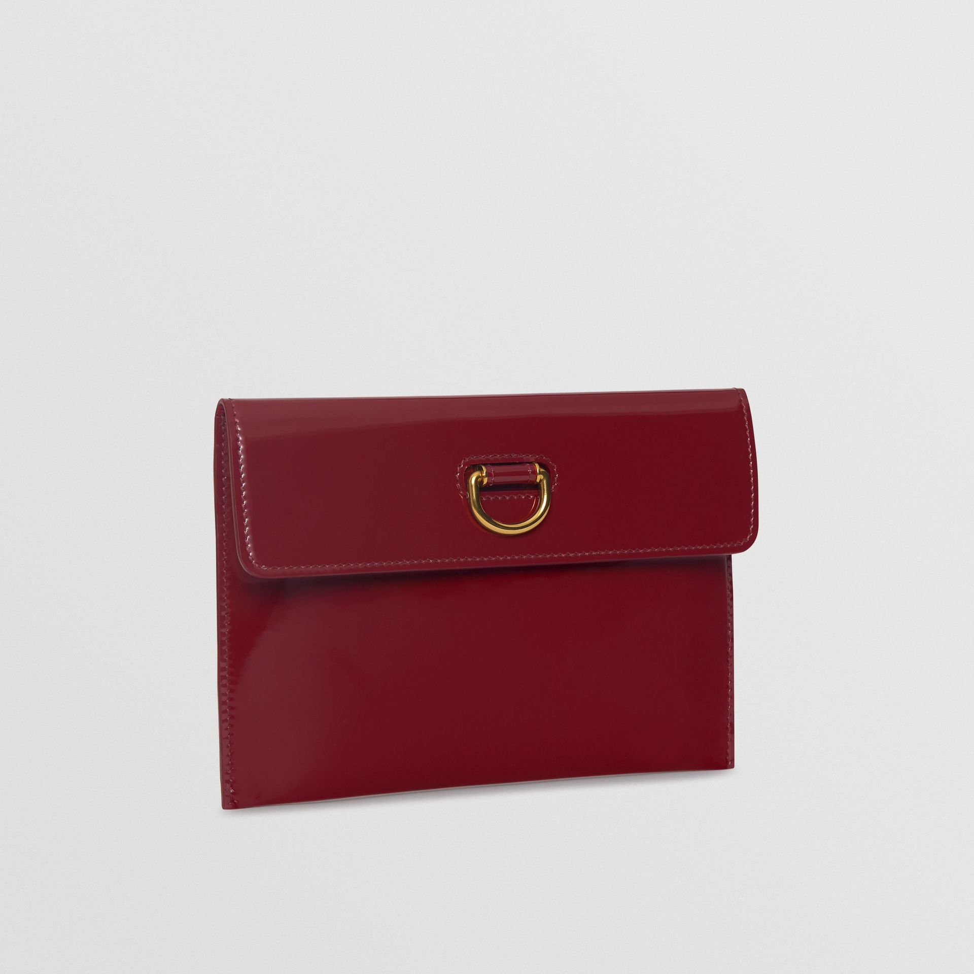 D-ring Patent Leather Pouch with Zip Coin Case in Crimson - Women | Burberry Australia - gallery image 4