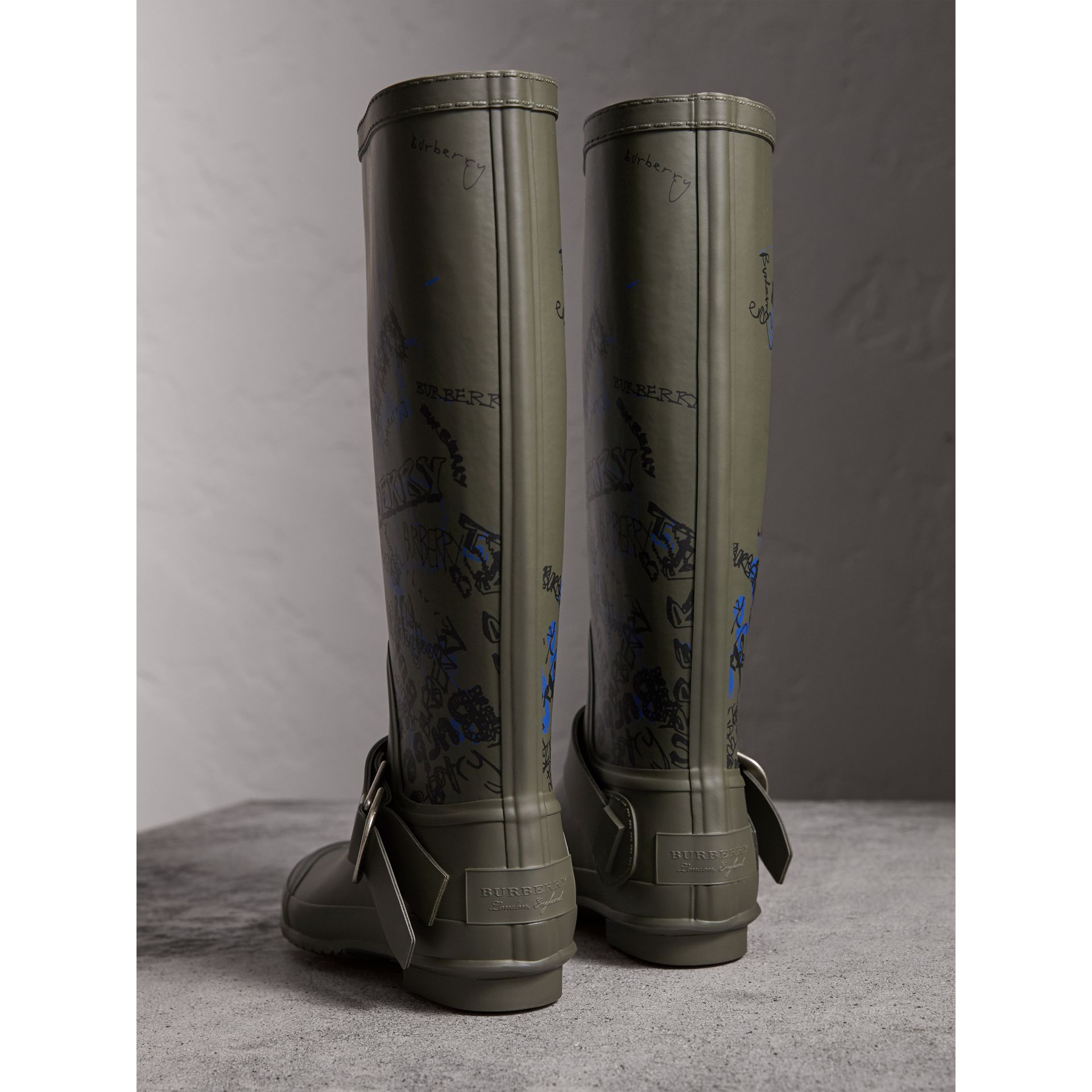 Doodle Print Rubber Rain Boots in Military Green - Women | Burberry Singapore - gallery image 3