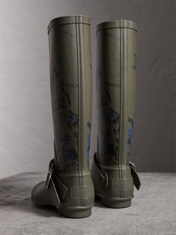 Doodle Print Rubber Rain Boots in Military Green - Women | Burberry Singapore - cell image 3