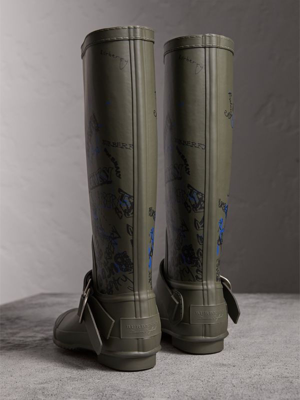 Doodle Print Rubber Rain Boots in Military Green - Women   Burberry - cell image 3