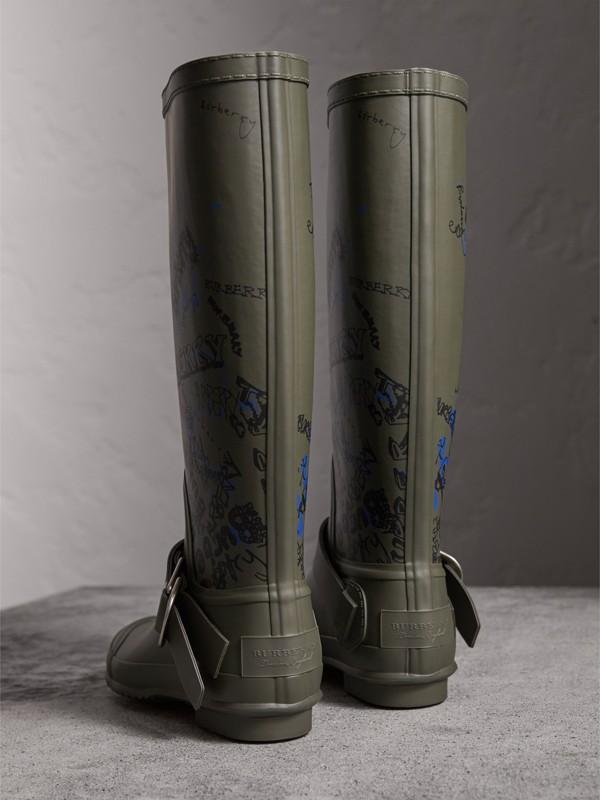 Galochas de borracha com estampa Doodle (Verde Militar) - Mulheres | Burberry - cell image 3