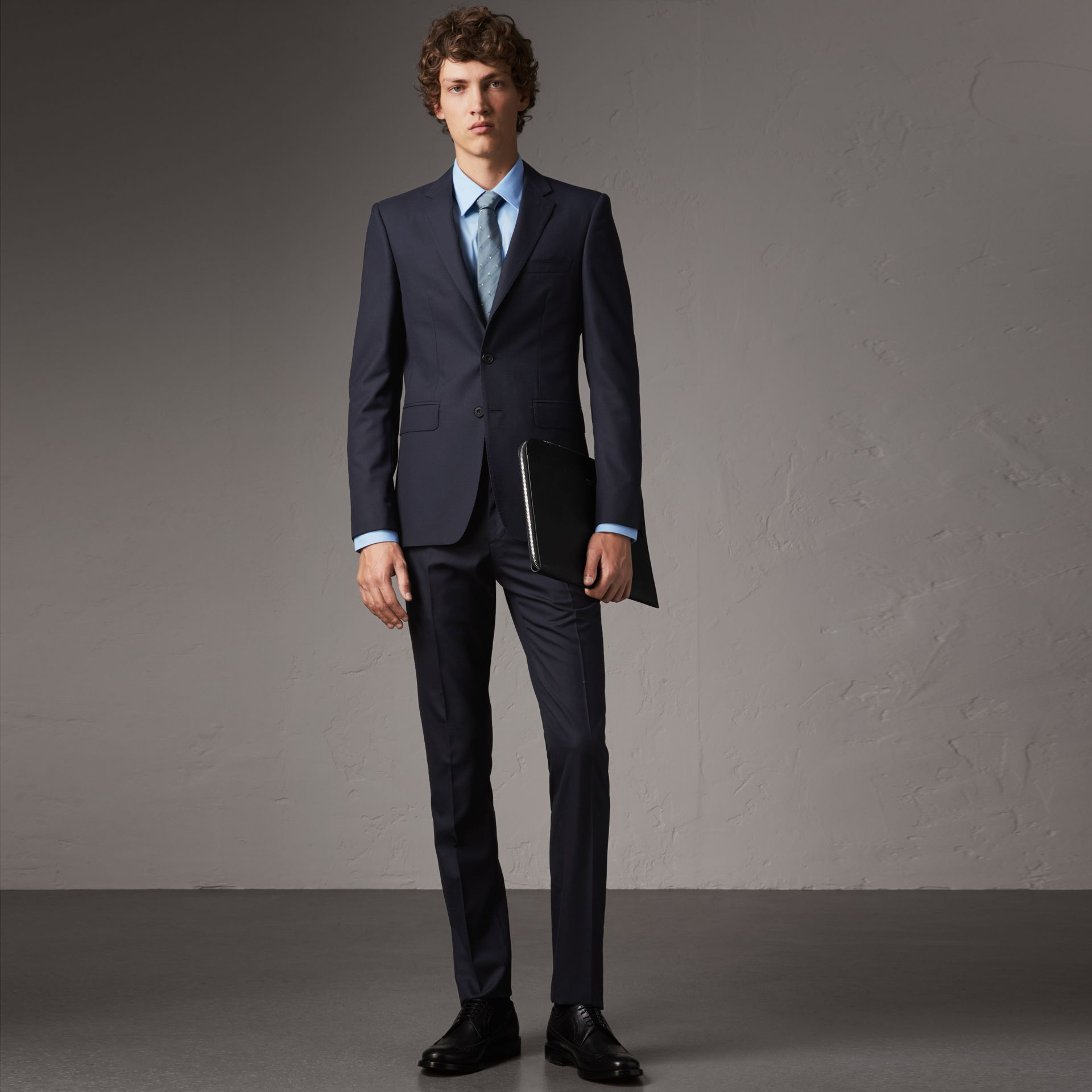 Slim Fit Wool Suit in Navy - Men | Burberry Singapore - gallery image 0