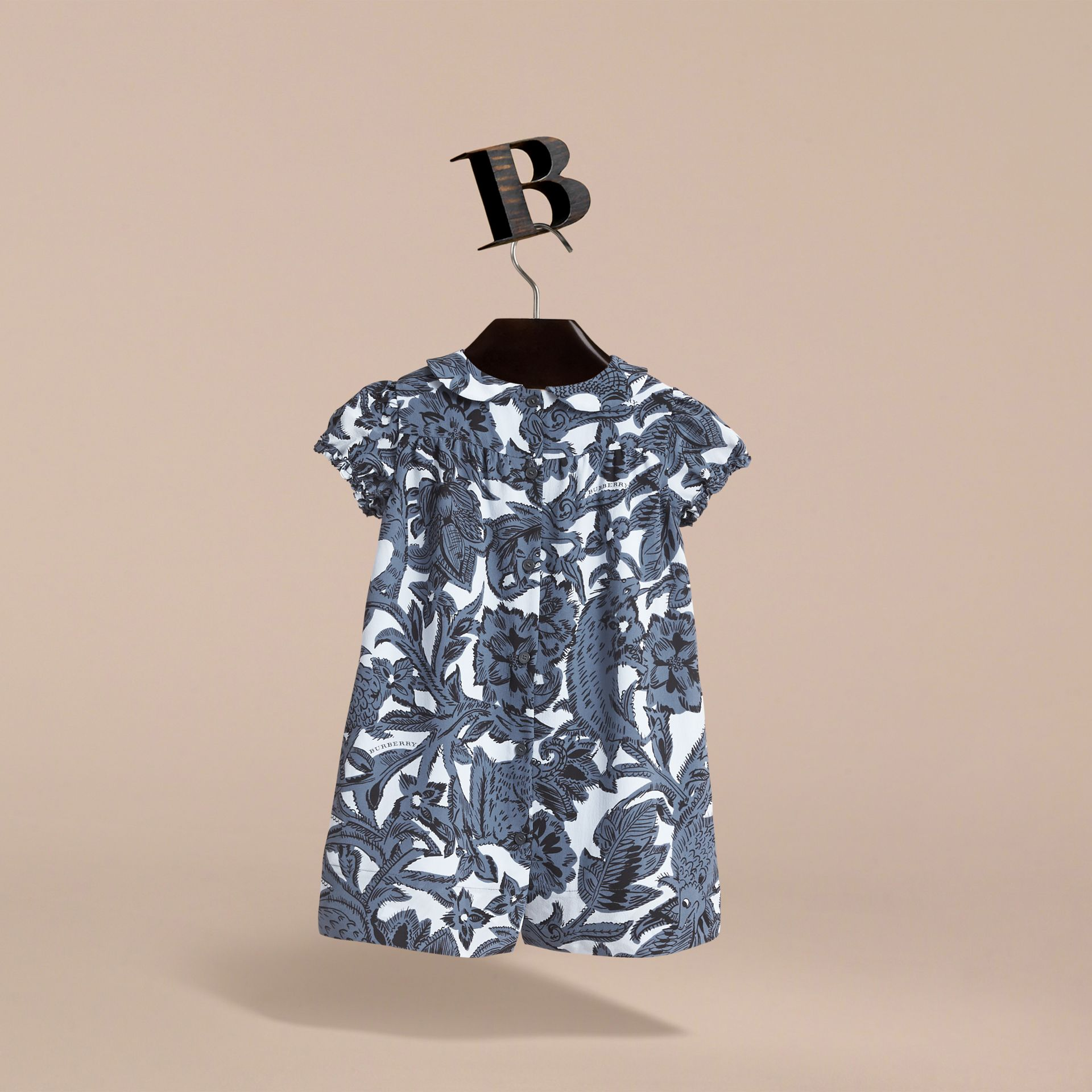 Puff-sleeve Beasts Print Silk Dress in Stone Blue | Burberry - gallery image 4