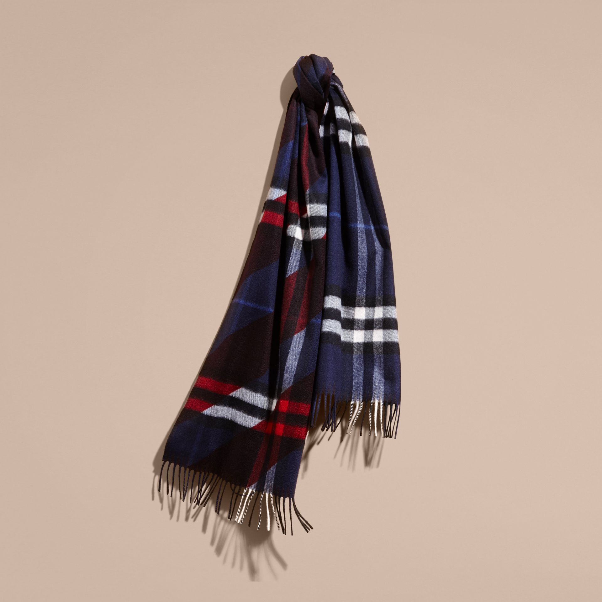 The Classic Cashmere Scarf in Check with Stripe Print - gallery image 6
