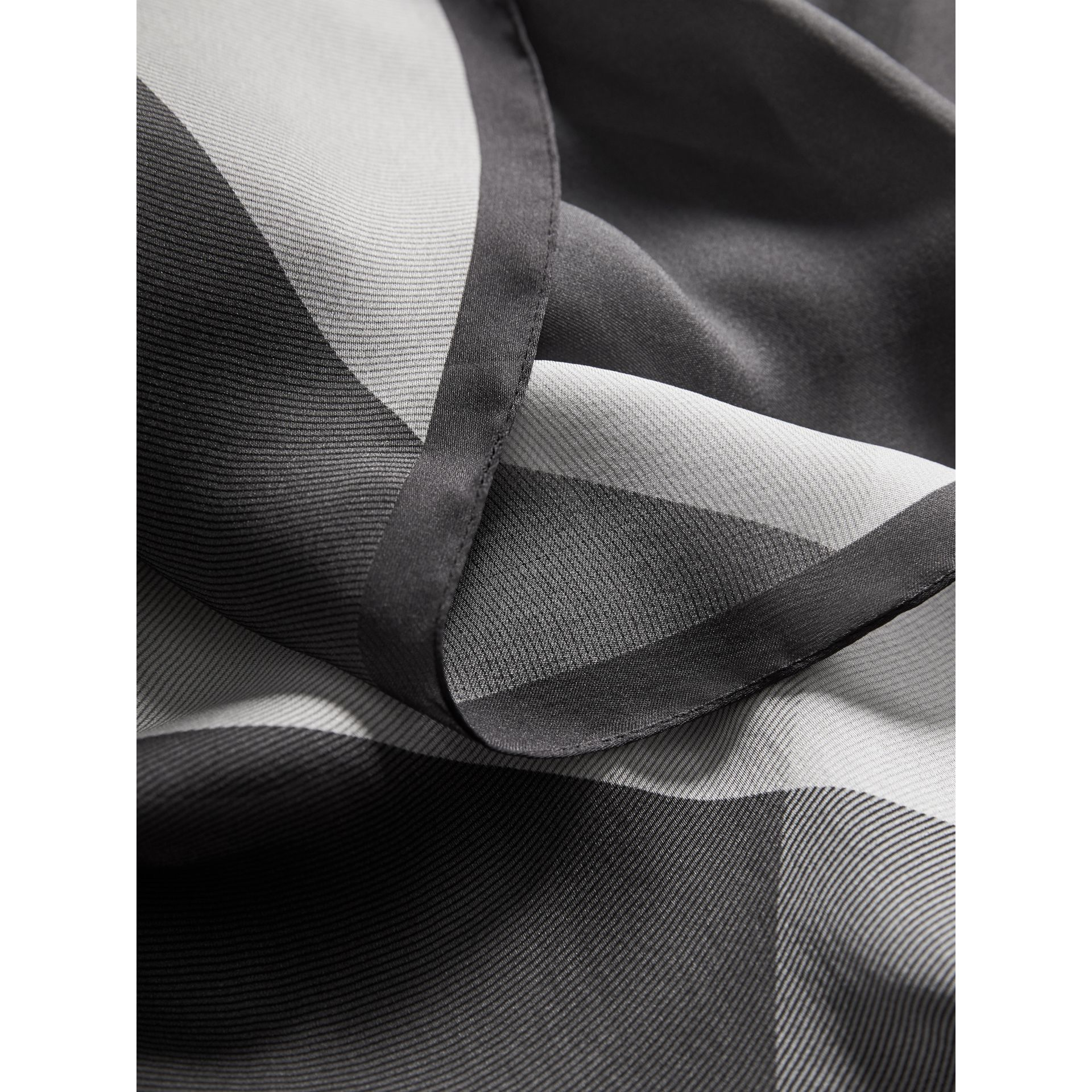 Ombré Washed Check Silk Scarf in Mid Grey - Women | Burberry - gallery image 2