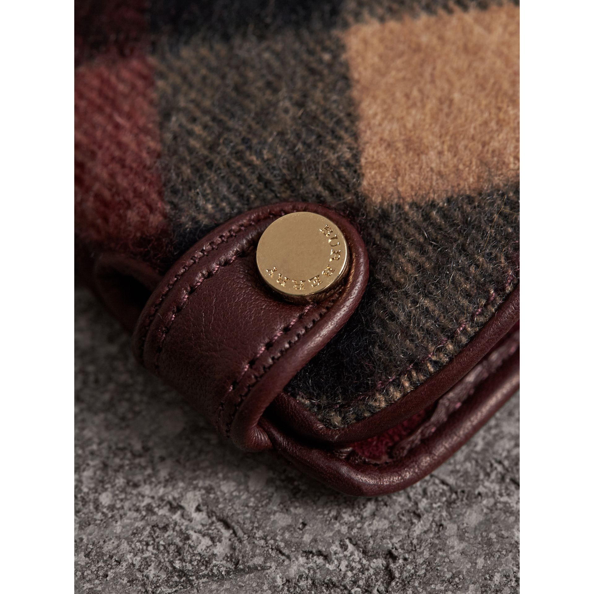 Leather and Check Cashmere Gloves in Claret - Women | Burberry - gallery image 2