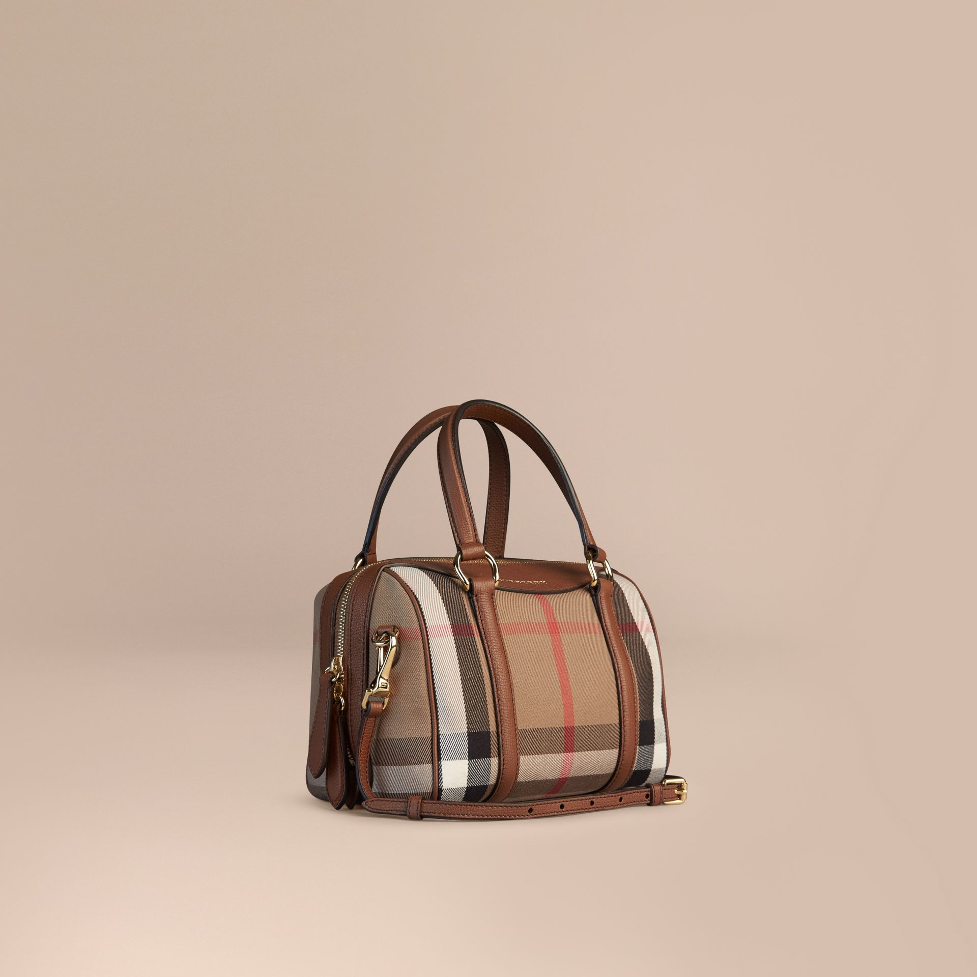 Ocre marron Petit sac The Alchester en coton House check et cuir - photo de la galerie 1