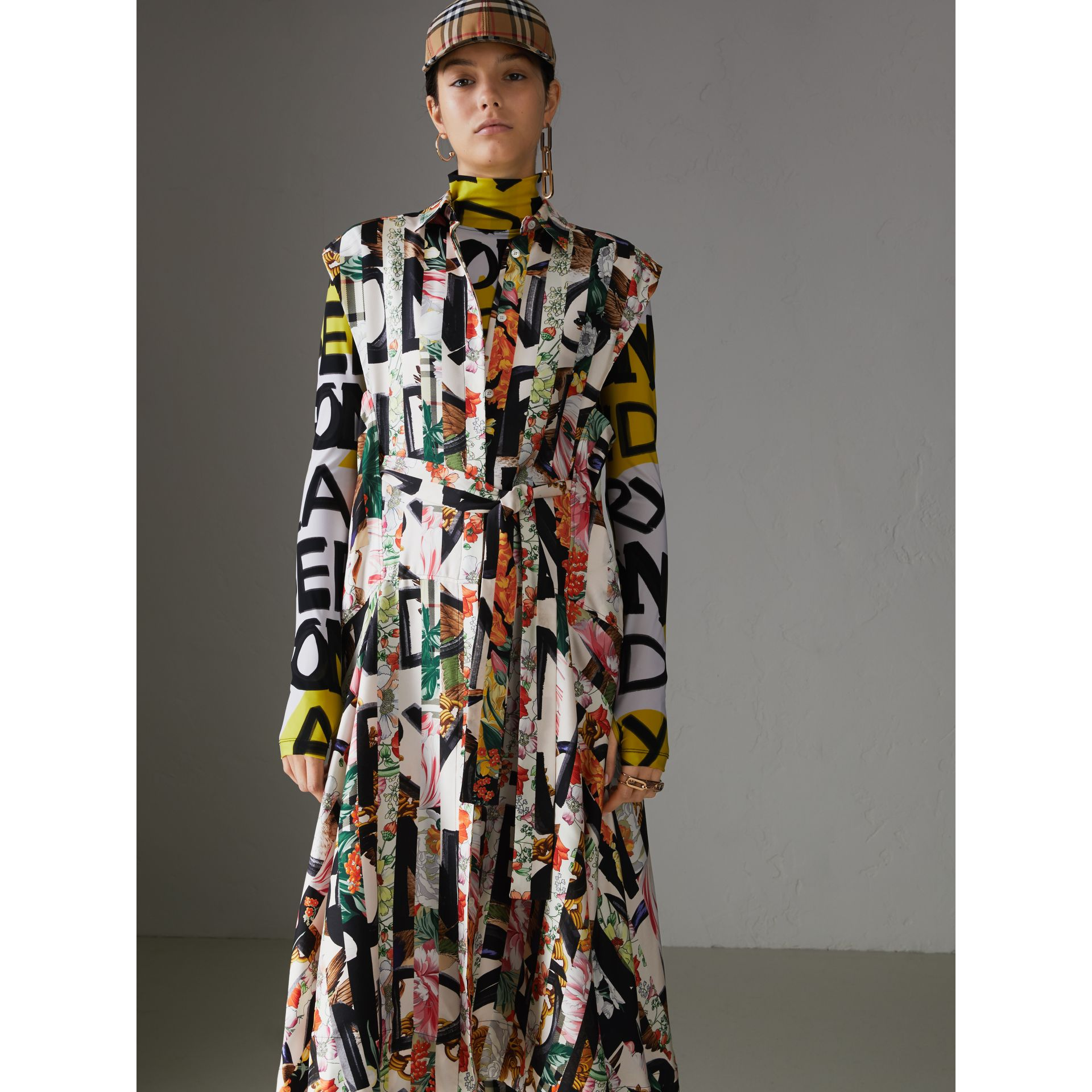 Graffiti Archive Scarf Print Silk Shirt Dress in Multicolour - Women | Burberry United Kingdom - gallery image 6