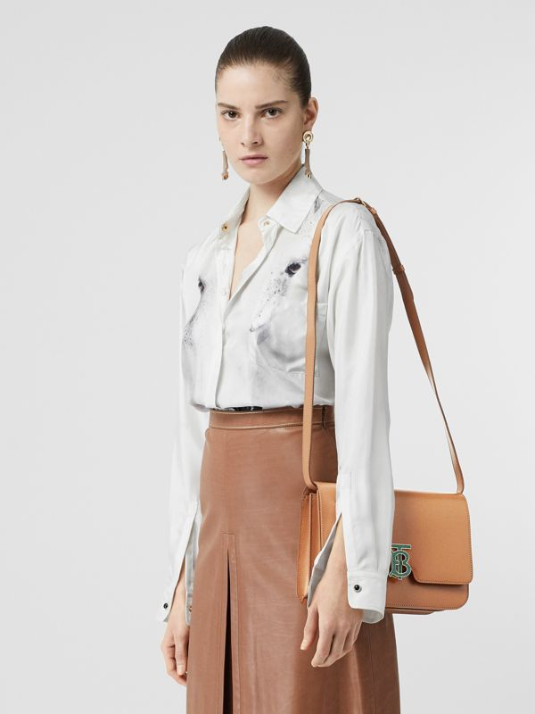 Medium Leather TB Bag in Flaxseed - Women | Burberry - cell image 2