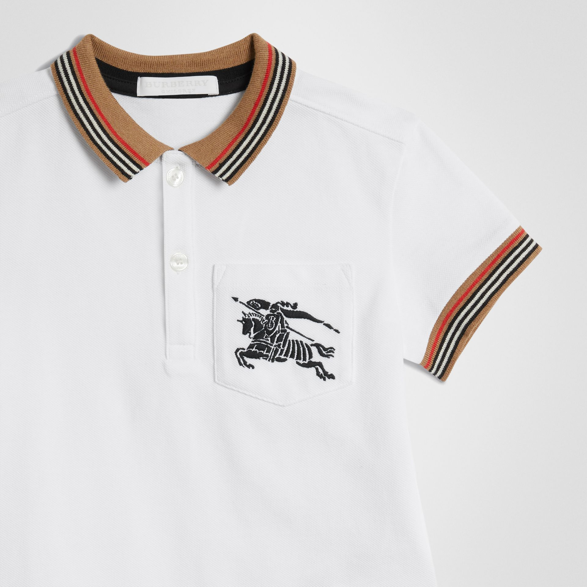 Icon Stripe Detail Cotton Polo Shirt in White | Burberry - gallery image 4