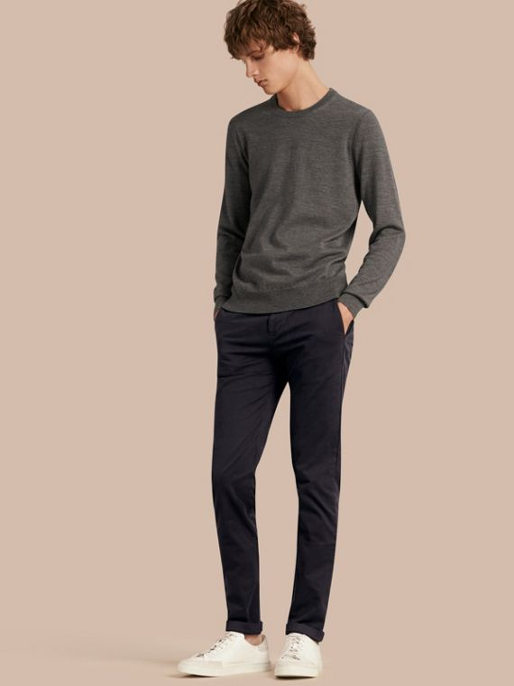 Slim Fit Stretch-Cotton Twill Chinos Navy