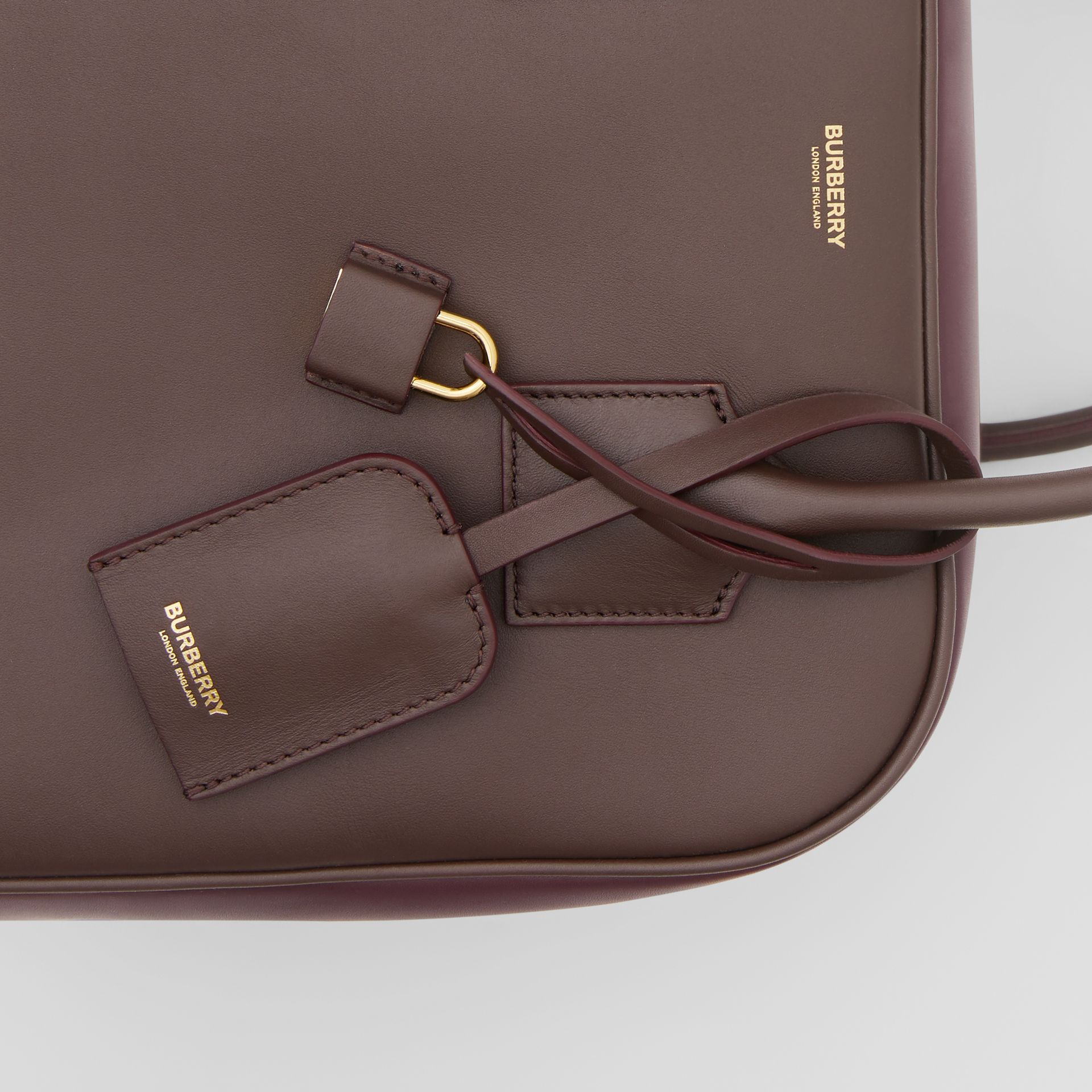 Medium Leather and Suede Cube Bag in Mahogany - Women | Burberry - gallery image 8