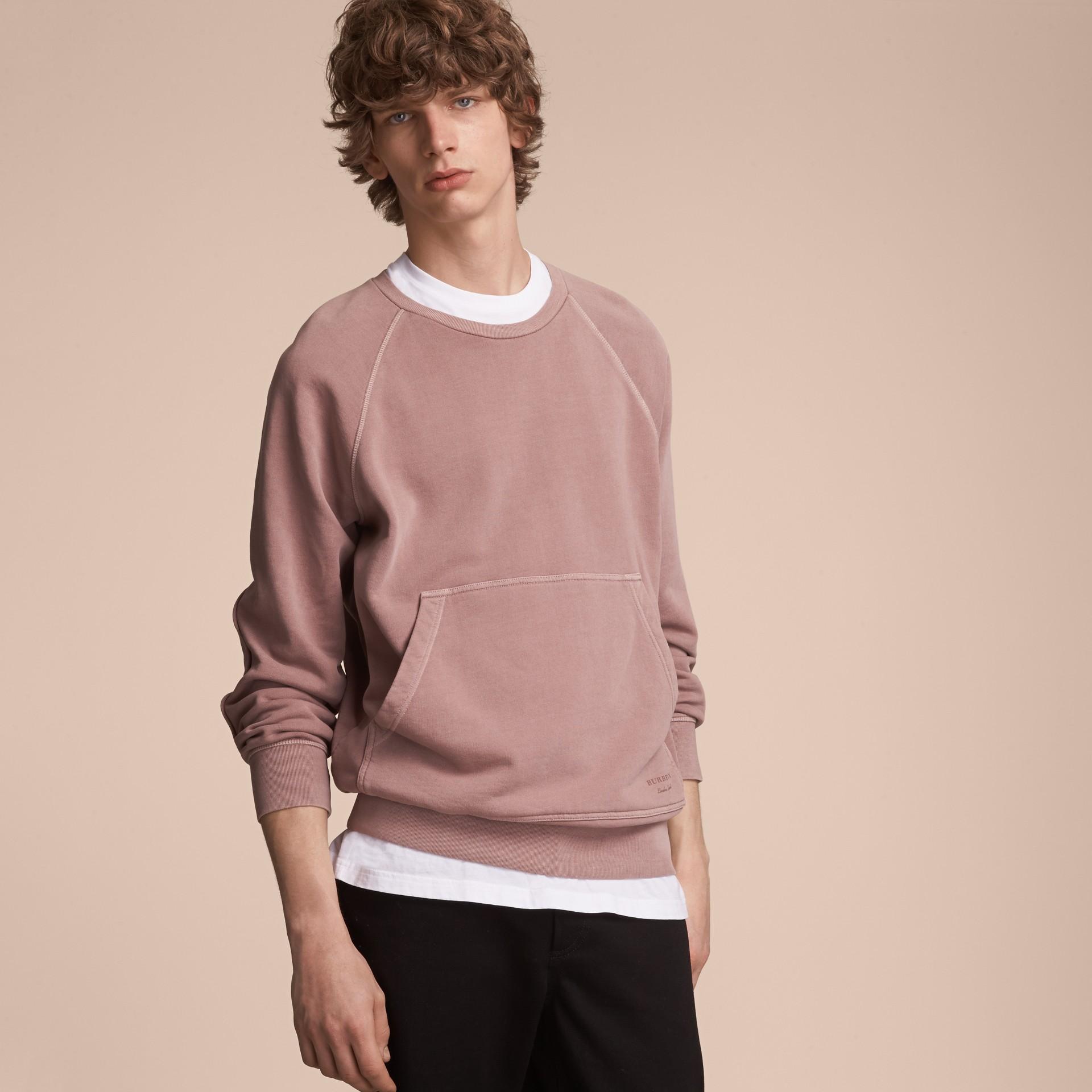 Unisex Pigment-dyed Cotton Oversize Sweatshirt Dusty Mauve - gallery image 6