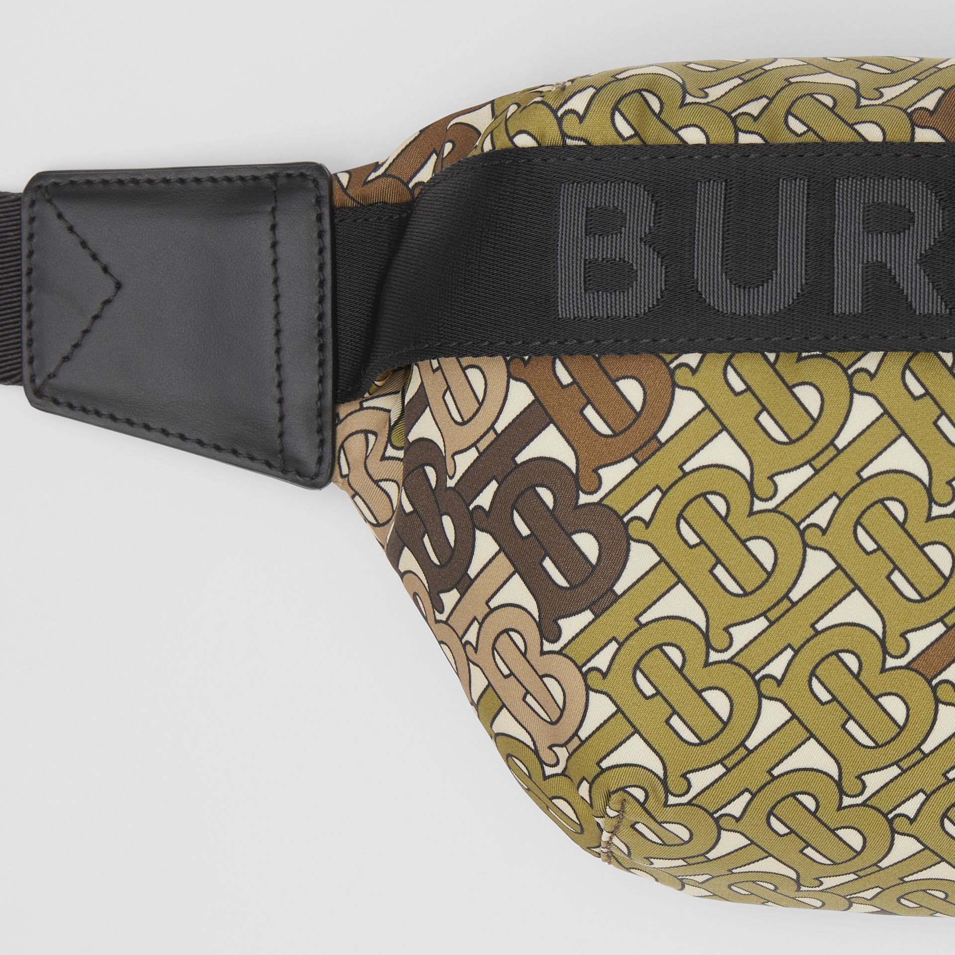Medium Monogram Print Bum Bag in Khaki Green - Women | Burberry - gallery image 1
