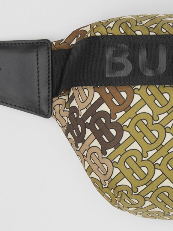 Medium Monogram Print Bum Bag in Khaki Green - Women | Burberry United Kingdom - cell image 1
