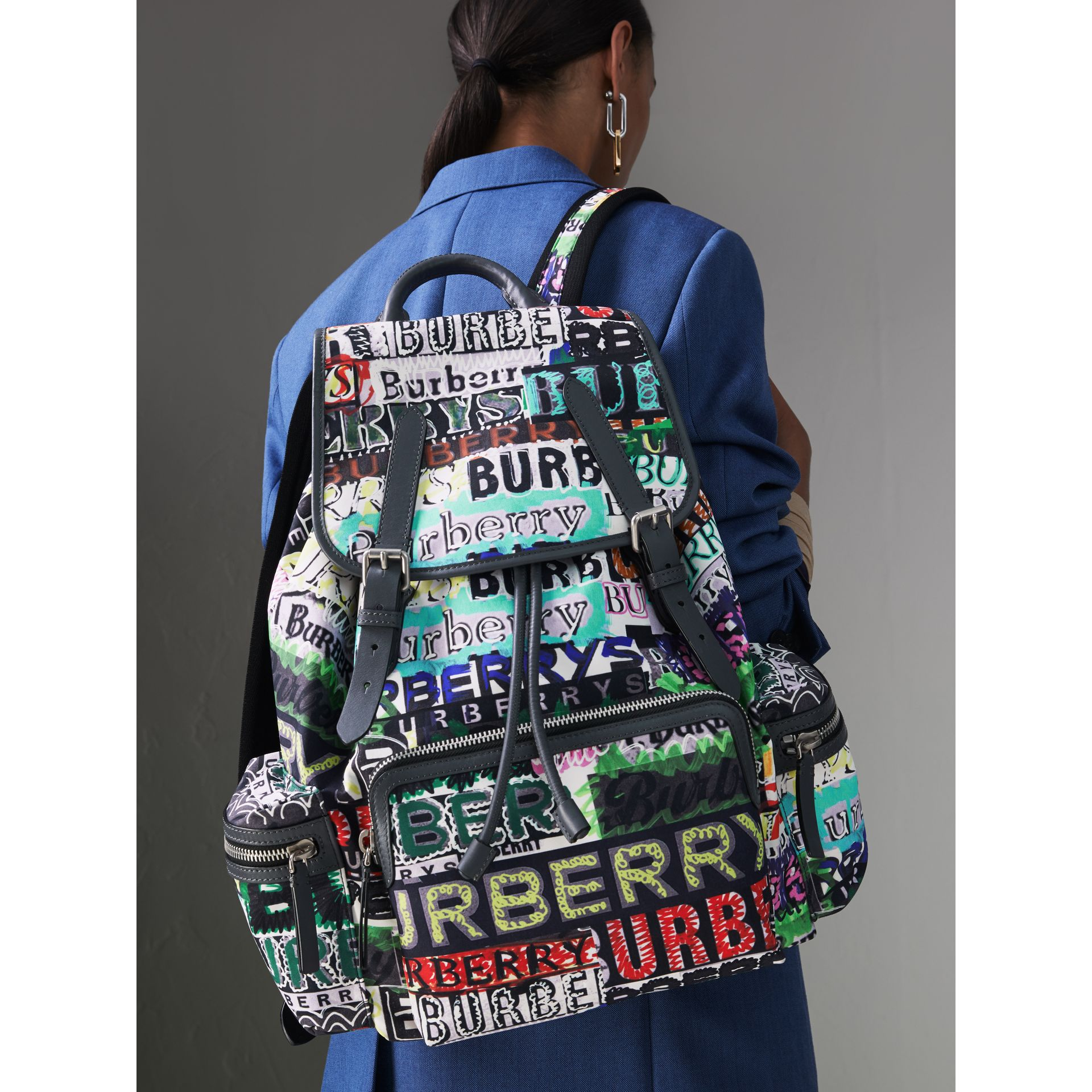 The Large Rucksack in Graffiti Logo Print in Multicolour | Burberry Australia - gallery image 3