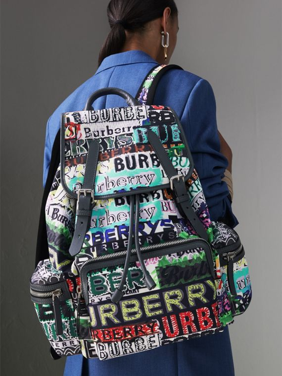 The Large Rucksack in Graffiti Logo Print in Multicolour | Burberry Australia - cell image 3