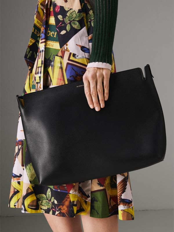 Large Tri-tone Leather Clutch in Black/sea Green | Burberry United Kingdom - cell image 3