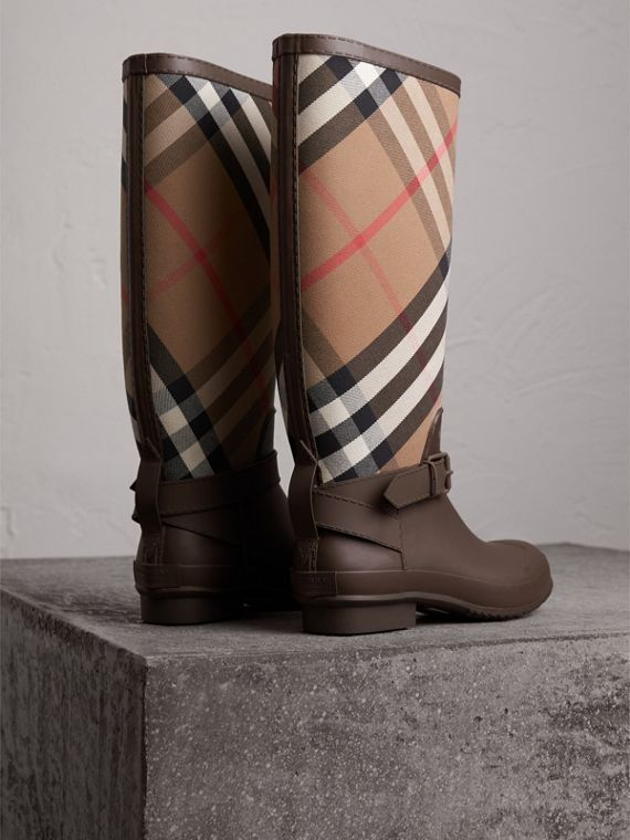 Belt Detail House Check and Rubber Rain Boots in Bitter Chocolate - Men | Burberry - cell image 3
