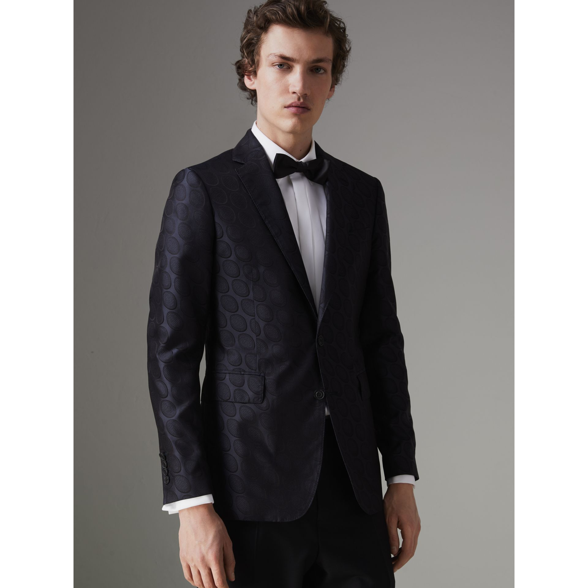 Soho Fit Spot Silk Evening Jacket in Midnight Blue - Men | Burberry Australia - gallery image 5