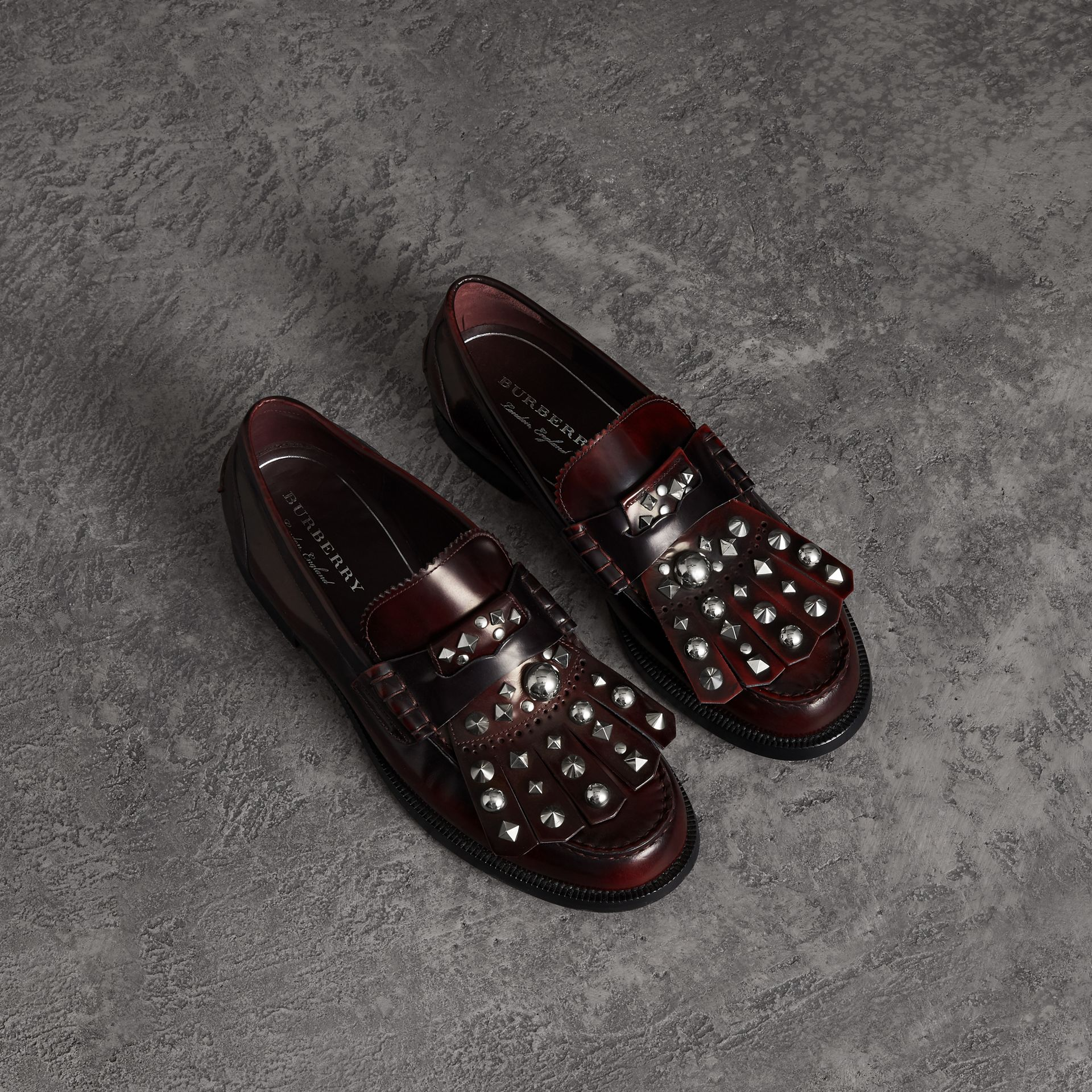 Stud Detail Kiltie Fringe Leather Loafers in Bordeaux - Men | Burberry Canada - gallery image 0