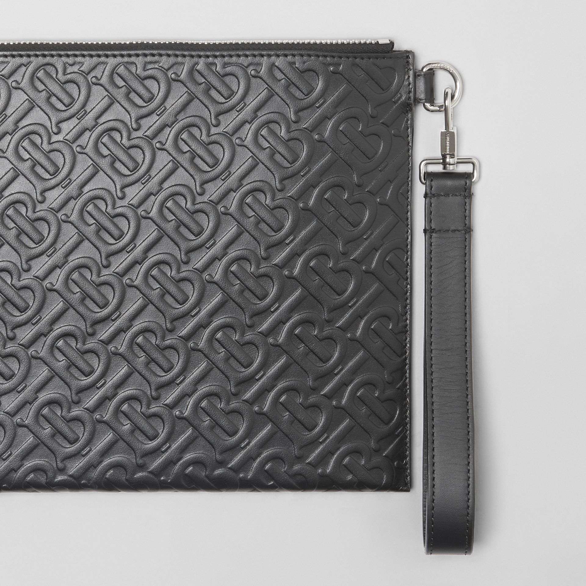 Monogram Leather Zip Pouch in Black | Burberry - gallery image 1