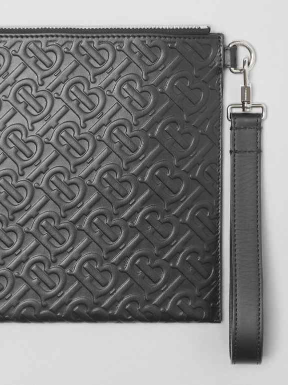 Monogram Leather Zip Pouch in Black | Burberry - cell image 1