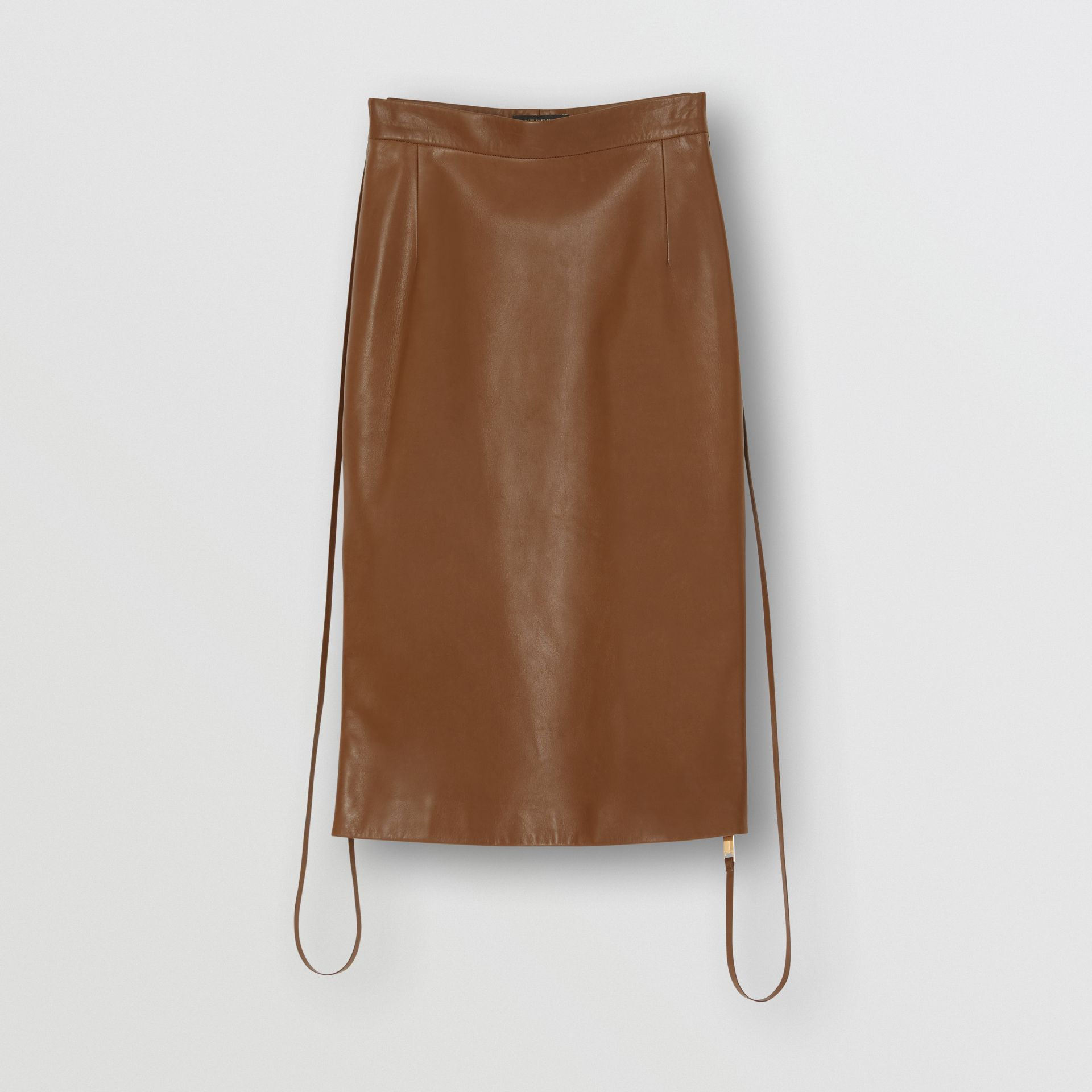 Double Zip Lambskin Skirt in Brown - Women | Burberry - gallery image 3