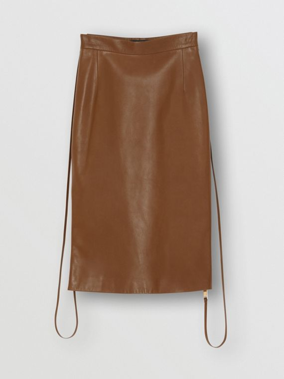 Double Zip Lambskin Skirt in Brown