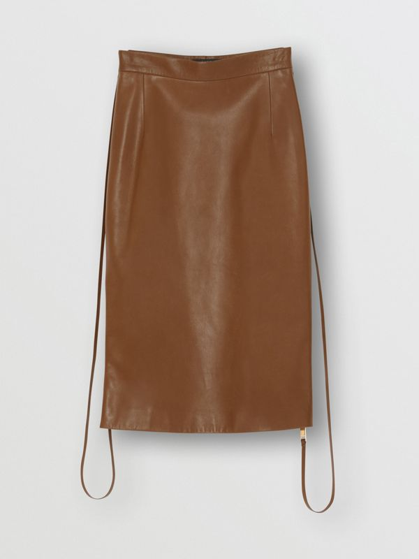 Double Zip Lambskin Skirt in Brown - Women | Burberry United Kingdom - cell image 3