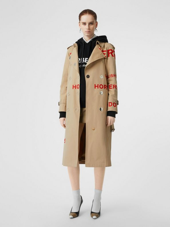 Horseferry Print Cotton Gabardine Trench Coat in Honey