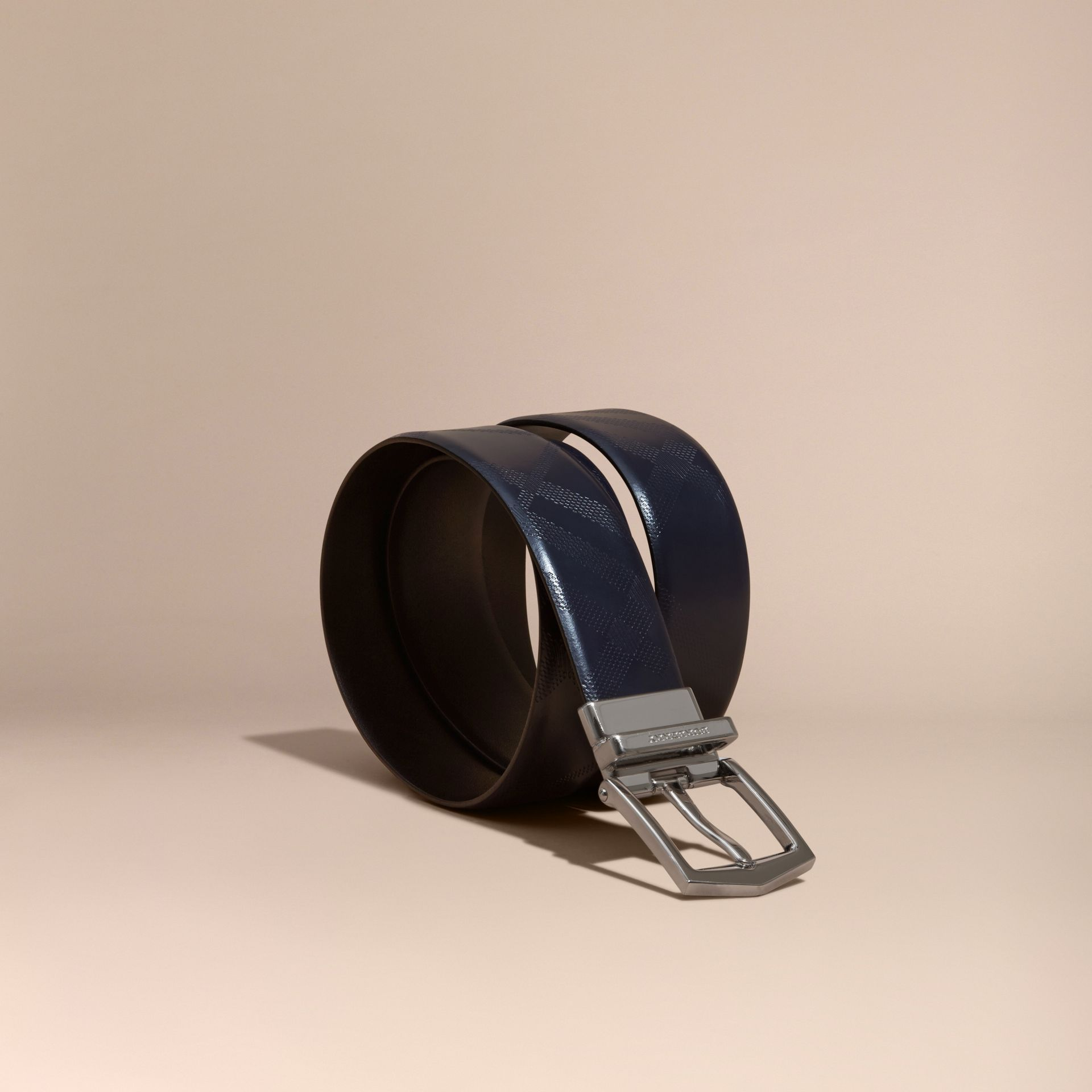 Reversible Leather Belt Dark Navy/black - gallery image 1