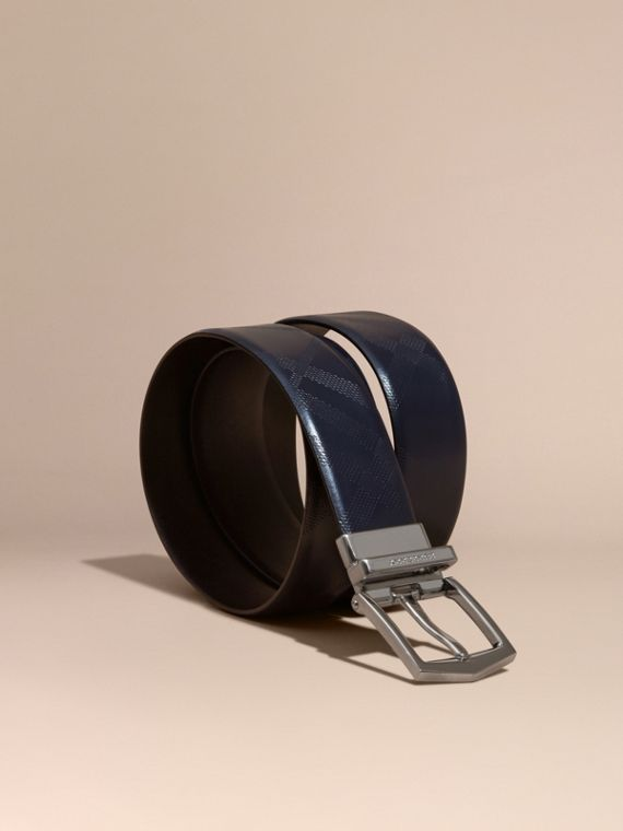 Reversible Leather Belt Dark Navy/black