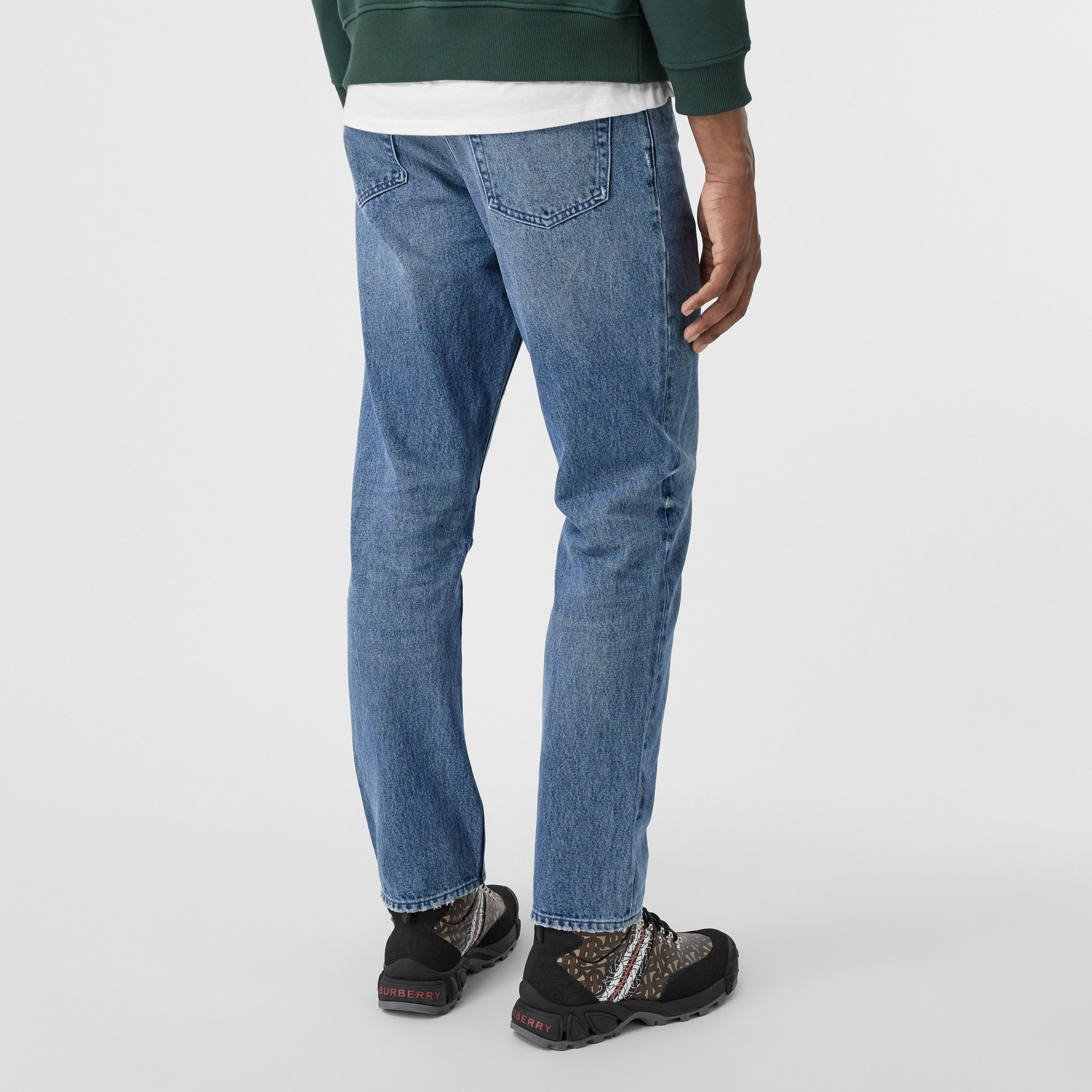 Straight Fit Distressed Denim Jeans in Light Indigo Blue - Men | Burberry - 3