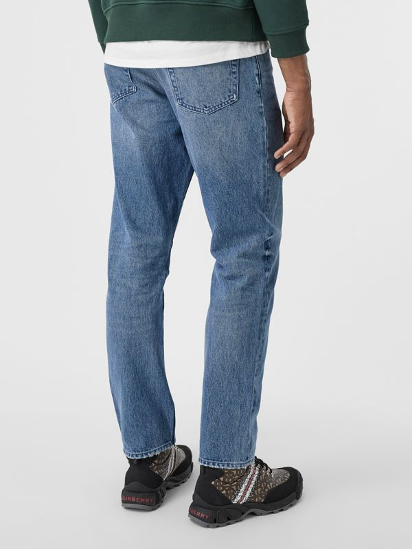Straight Fit Distressed Denim Jeans in Light Indigo Blue - Men | Burberry - cell image 2