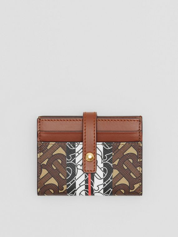 Monogram Stripe E-canvas Folding Card Case in Bridle Brown