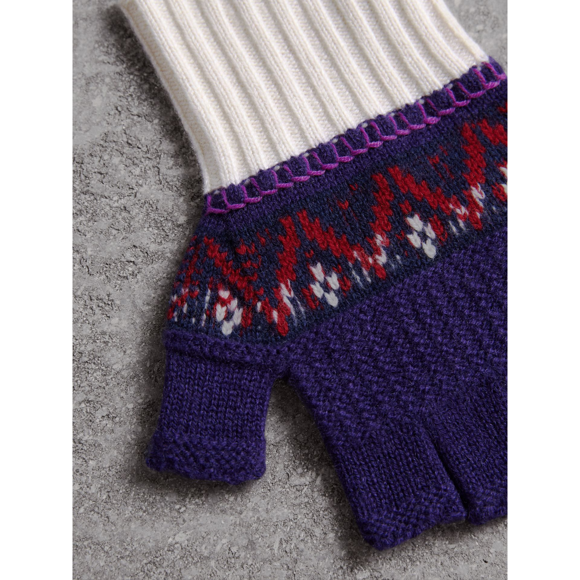 Fair Isle Cashmere Wool Fingerless Gloves in Purple Grape | Burberry - gallery image 2