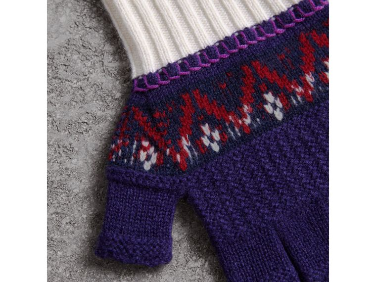 Fair Isle Cashmere Wool Fingerless Gloves in Purple Grape | Burberry - cell image 1