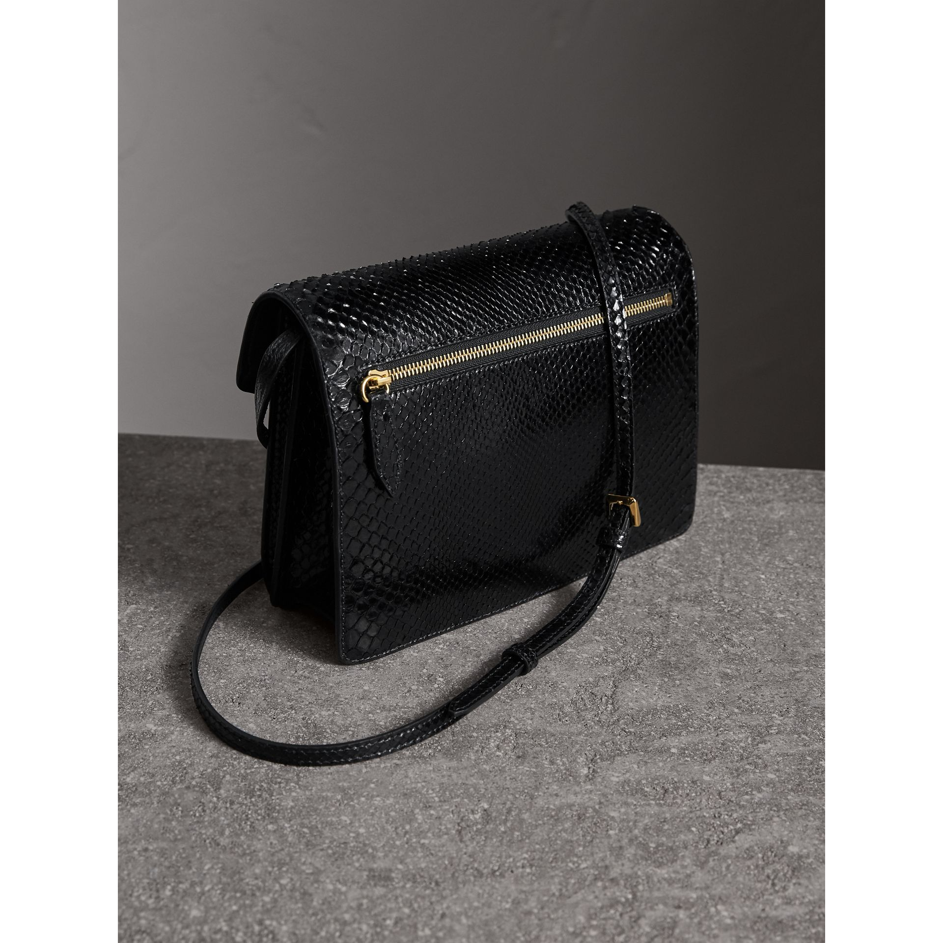 Small Python Crossbody Bag in Black - Women | Burberry - gallery image 4