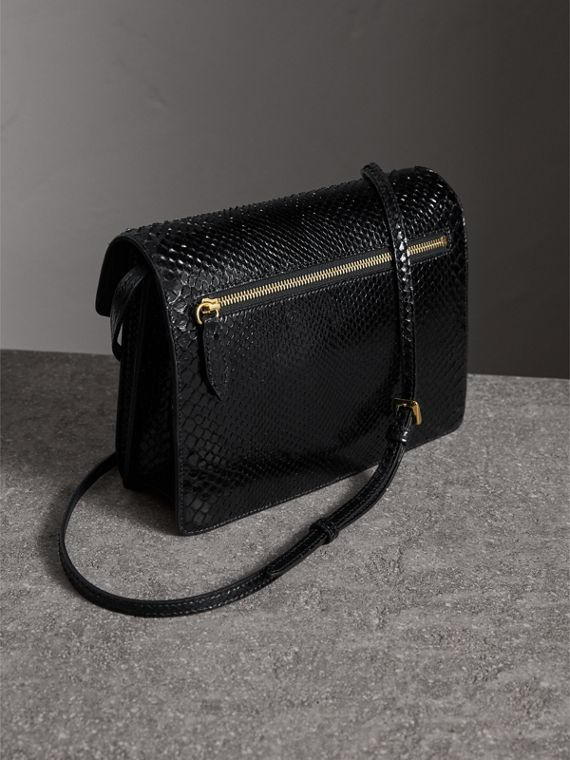 Small Python Crossbody Bag in Black - Women | Burberry - cell image 2