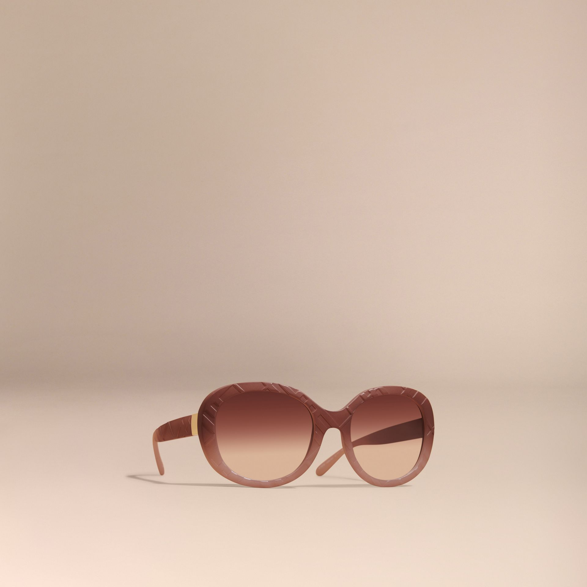 Pale rose 3D Check Round Frame Sunglasses Pale Rose - gallery image 1