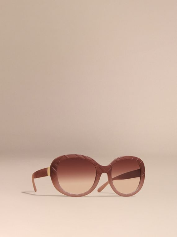 3D Check Round Frame Sunglasses Pale Rose