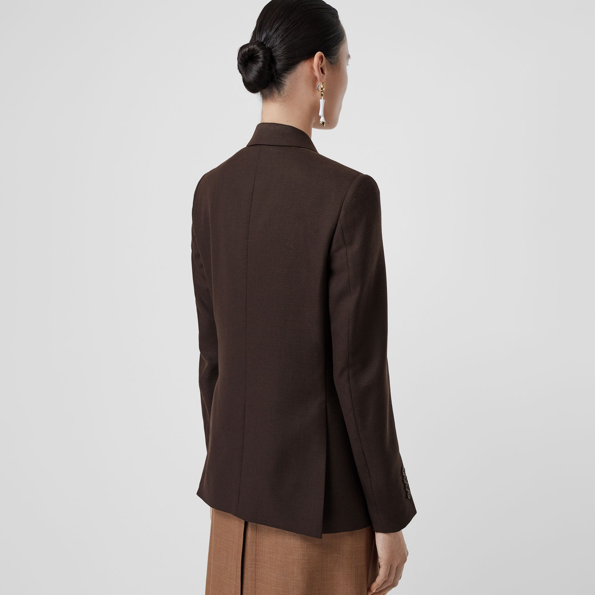 Silk Scarf Detail Wool Tailored Jacket in Coffee - Women | Burberry Singapore - gallery image 2