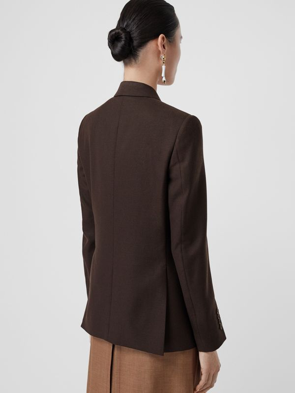 Silk Scarf Detail Wool Tailored Jacket in Coffee - Women | Burberry - cell image 2