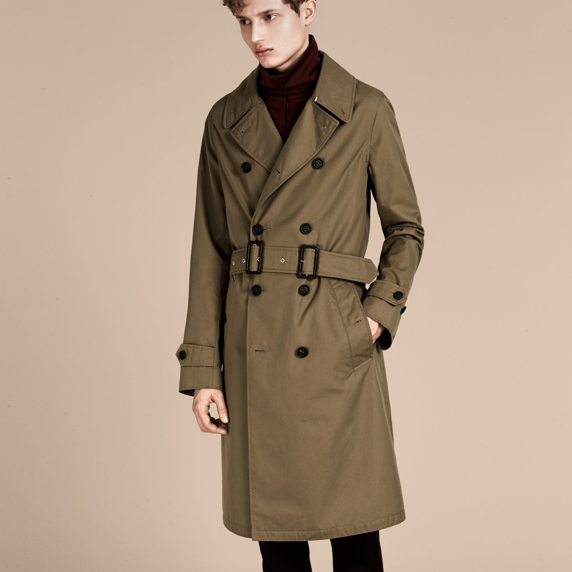 Military olive Cotton Gabardine Trench Coat - gallery image 1